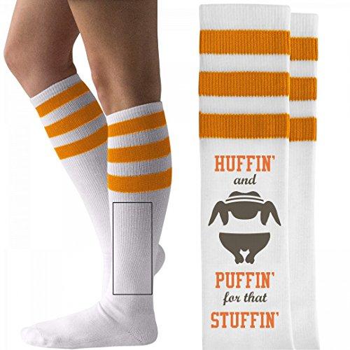 Org Turkey (Turkey Trot Huffin': Unisex Striped Knee-High Socks)