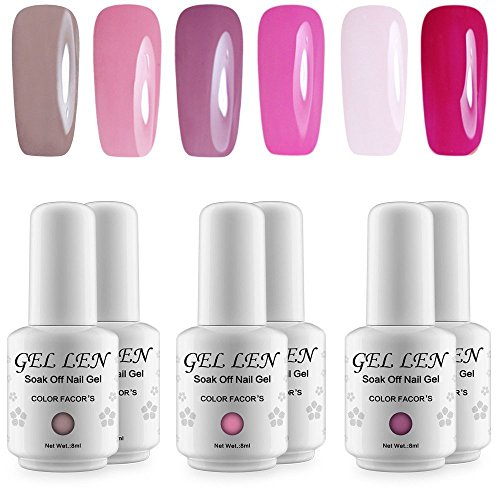 Gellen UV LED Soak Off Gel Nail Polish Popular Fresh Pink 6