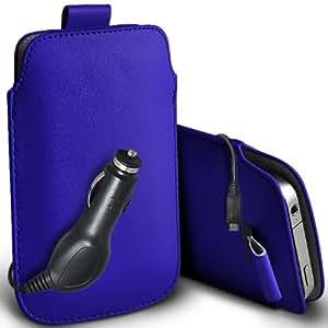 ONX3 ZTE Blade Q Mini Leather Slip cuerda del tirón de la PU de protección en la bolsa del lanzamiento rápido con 12v Micro USB cargador de coche (azul)