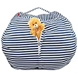 Stuffed Animal Storage Bean Bag Cover Plush Toys Creative Organizer Chair  38'' Extra Large Light Blue Premium Cotton Canvas By SAKIBO