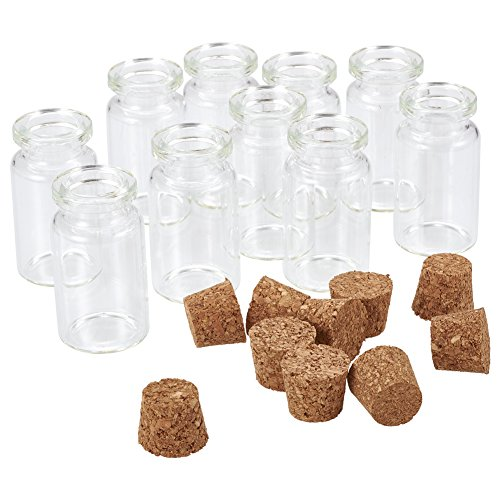 Pandahall 10pcs 40x22mm Clear Tampions Glass Wishing Bottles Vials with Cork Bead Containers ()