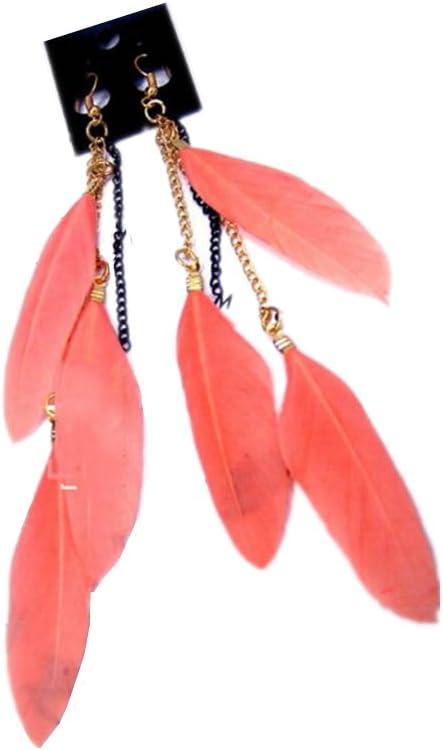 Scrox 1 pcs Mujeres de la Manera Pendientes de Las Muchachas Pendientes de Plumas Naturales Fringe Pendientes Largos Nuevas Mujeres Accesorios de la joyería