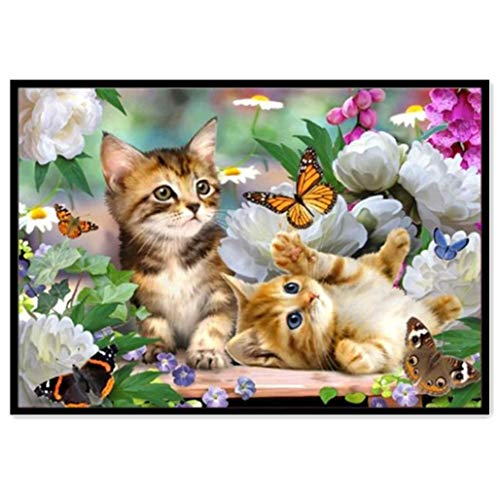 DIY 5D Diamond Painting Kit, Franterd Lovely Animal Picture Decor Round Diamond Embroidery Cross Stitch Arts Craft Canvas Home Wall Decor Happy Time for Child & Parents -