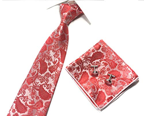 Mens Floral Ties and Pocket Squares Extra Long Tie CORAL Boy Hot Red Fun Necktie