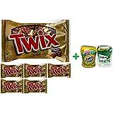 Twix Cookie Bars Caramel Milk Chocolate Minis - 11.5 Oz (6 PACK)+ Fruity Chews Gum Watermelon 1/60 Count + Trident Go Cup Spearmint 1/60 Count (BUNDLE)