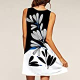 HTHJSCO Womens O-Neck Boho Sleeveless Summer Beach Sundress Floral Printed Casual T-Shirt Short Mini Dress (White A, L)