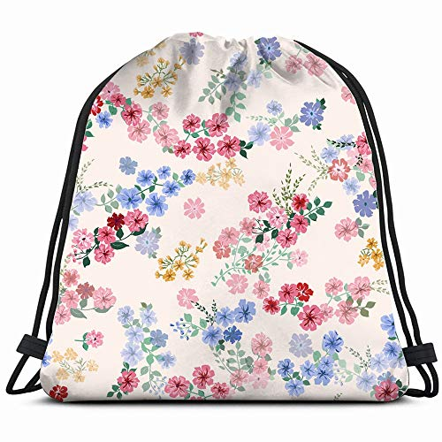 Small Pretty Flowers Liberty Flower Vintage Drawstring Backpack Bag For Kids Boys Girls Teens Birthday, Gift String Bag Gym Cinch Sack For School And Party