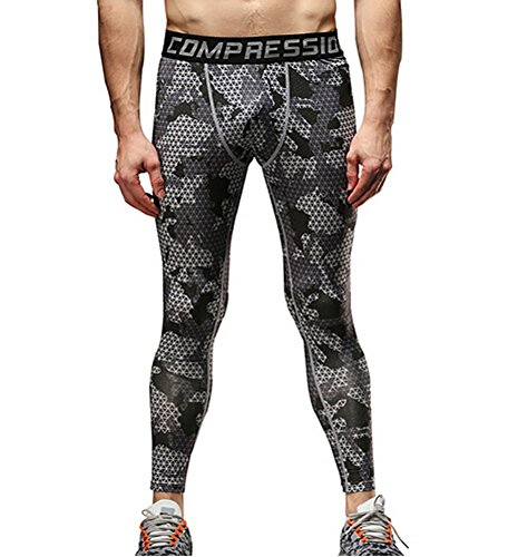 2d17a42115dc5 COOLOMG Compression Pants GYM Running Tights Length Pants Leggings For Men  Youth Boy Gray Digital Camouflage Grid M - Buy Online in UAE. | Misc.