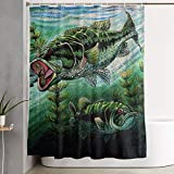 Bass Fishing Shower Curtain Zoe Diro 60 X 72 Inch Shower Curtain,Colorful Catfish Jumping Out of The Sea Bass Fishing Polyester Waterproof Bath Curtain,Fabric Mildew Resistant Bathroom Decor Set with Hooks