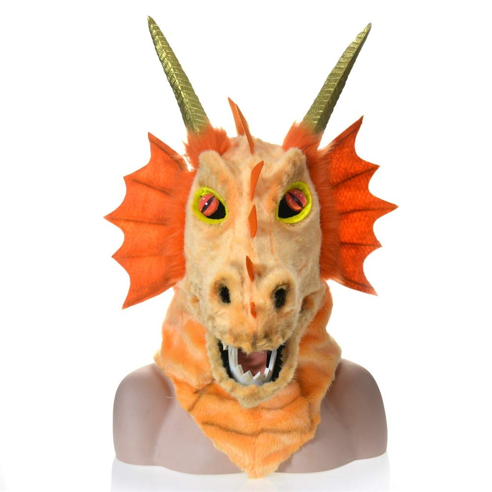 KX-QIN Custom Design Moving Mouth Blue Dragon Head Colorful Animal Fur Party mask Factory Deluxe Novelty Halloween Costume Party Latex Animal Head Mask for Adults and Kids (Color : Orange) by KX-QIN