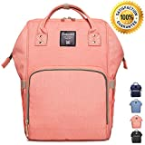 Wide Open Designed Baby Diaper Bag Backpack with Insulated Bottle Pockets, Travel Backpack Nappy Bags, Waterproof Material, Multi-Function 11 Pockets, Large Capacity, Stylish and Durable (Pink)