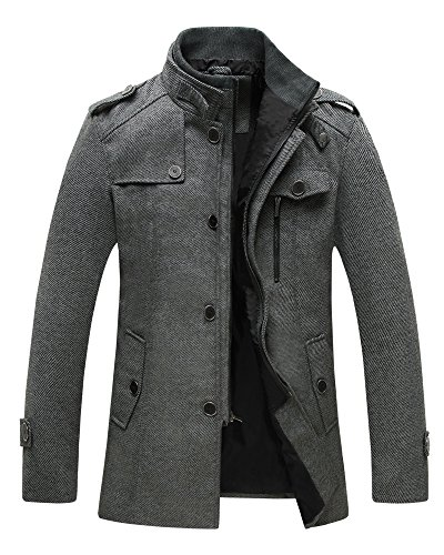 Wantdo Men's Wool Blend Pea Coat Stand Collar Windproof Jacket
