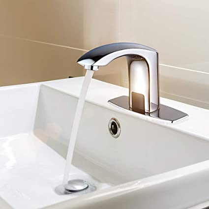 Fine Automatic Commercial Sensor Touchless Bathroom Faucet With Hole Cover Deck Plate Vanity Faucet Motion Activated Hands Free Vessel Sink Tap With Download Free Architecture Designs Rallybritishbridgeorg