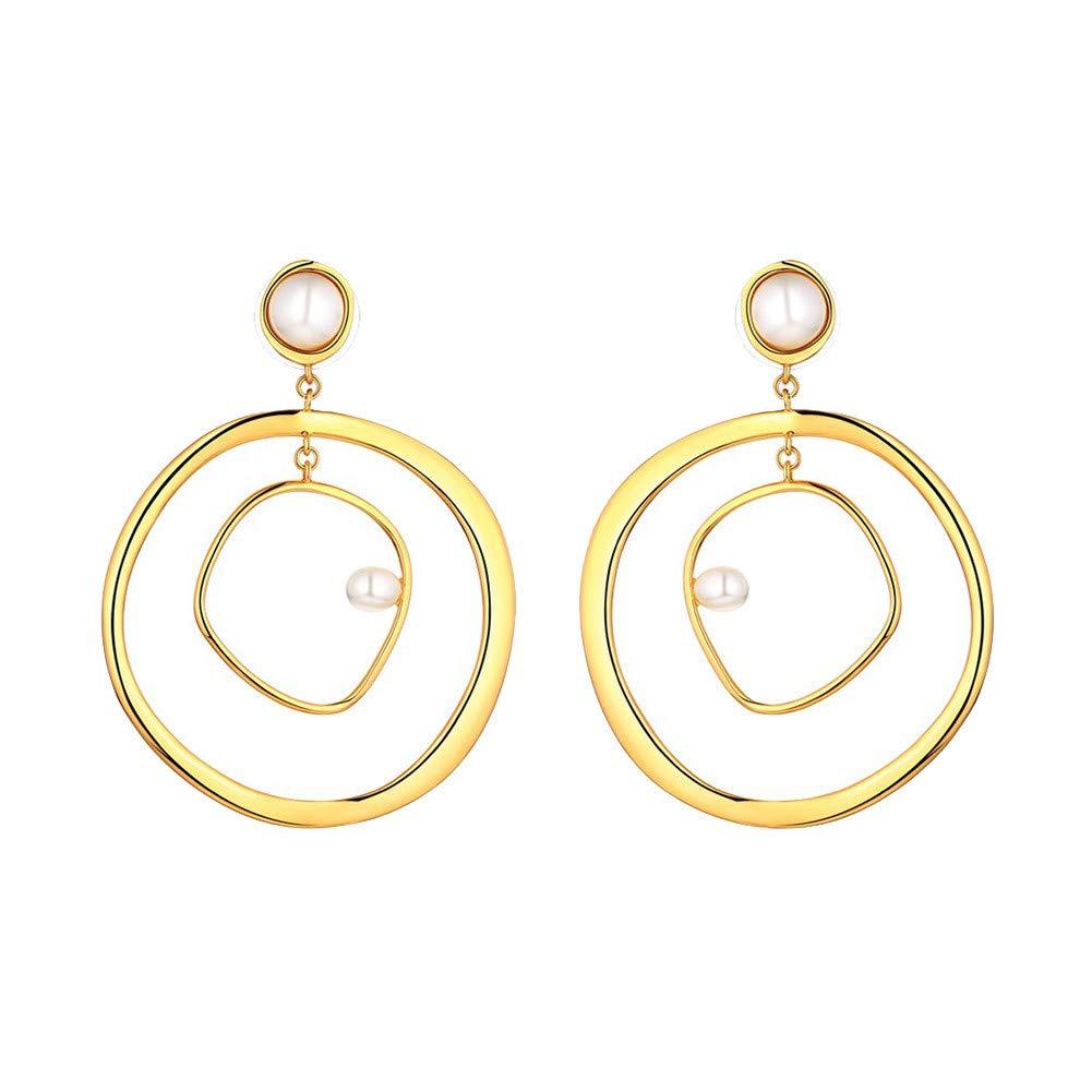 Women Classic Bohemian Earring Fashion Alloy Double Loops Hollow Vintage Geometric Pearl Hoop Drop Earrings for Girls (Gold, One Size)
