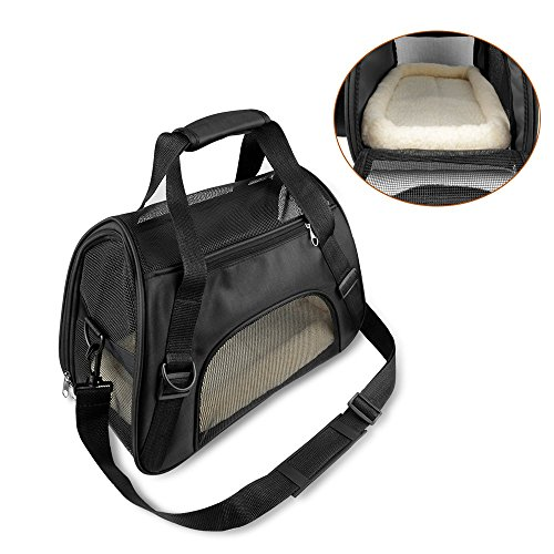ONSON Pets Travel Carrier - Cat Carrier, Soft Sided Travel Bags for Small Dogs and Cats - Airline Approved Under Seat Pet Bags - Free Fleece Padded Mats ()