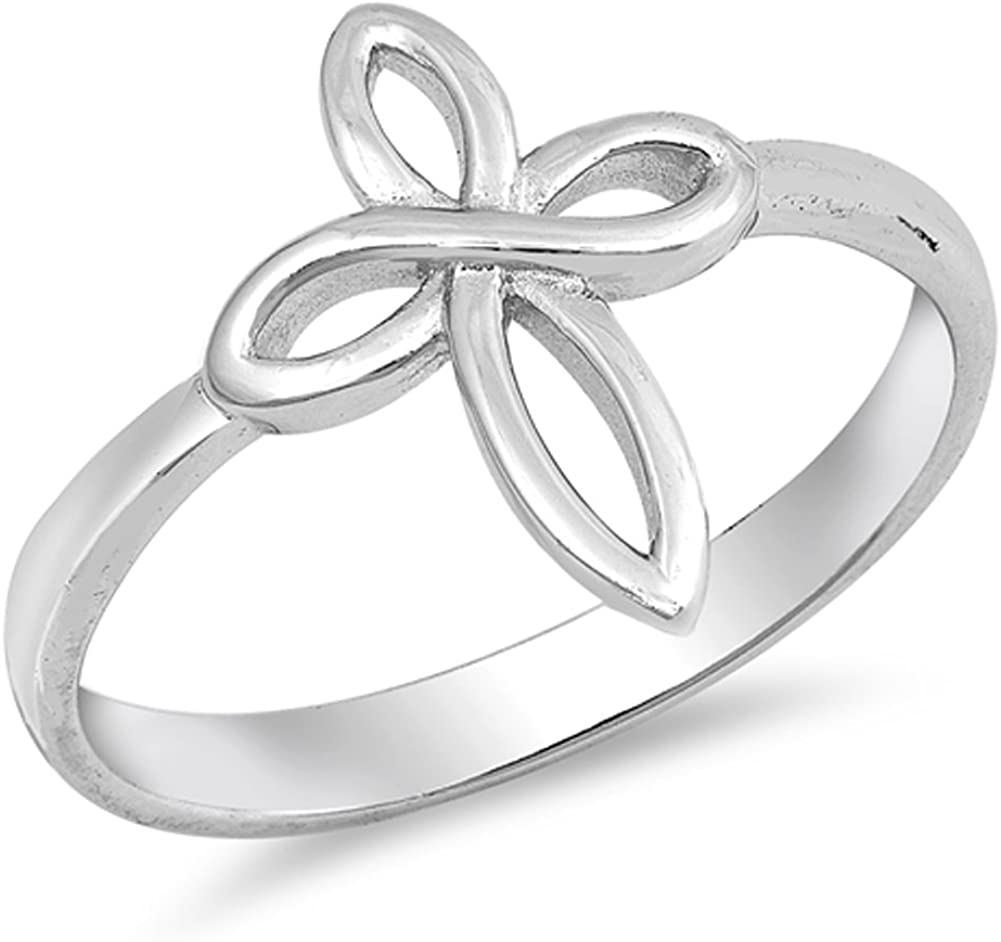 925 Sterling Silver Gorgeous Infinity Cross Ring Size 5-9
