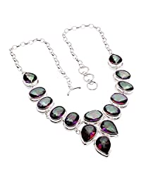 HERMOSA Unique Large Rainbow Mystic Fire Topaz 925 Sterling Silver Necklaces Bracelets Rings Series