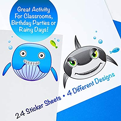 24 Make A Big Sea Life Sticker Sheets - Orca Killer Whale, Humpback, Dolphin & Great White Shark Stickers - Great Addition To Mermaid Birthday Party Favors - Fun Activity That Encourages Creativity: Toys & Games