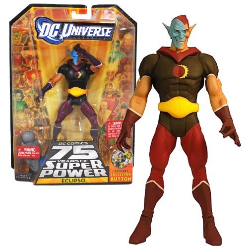 - DC Comics Mattel Year 2009 DC Universe 75 Years of Super Power Wave 12 Classics Series 6 Inch Tall Action Figure #1 - ECLIPSO with Darkseid's Left Leg Plus Bonus Collector Pin (R5779)