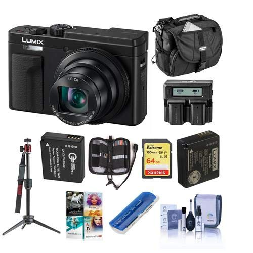 Panasonic Lumix DC-ZS80 Digital Camera - Black - Bundle with 64GB SDXC U3 Card, Spare Battery, Camera Bag, Dual Charger, Cleaning Kit, Table Top Tripod, Memory Wallet, Card Reader, Software Package
