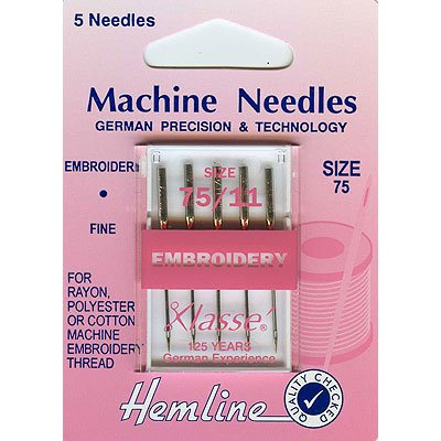 Hemline H108.75 Fine Embroidery Machine Needles 5x 75/11 Rayon/Cotton/Polyester Hemline Haberdashery