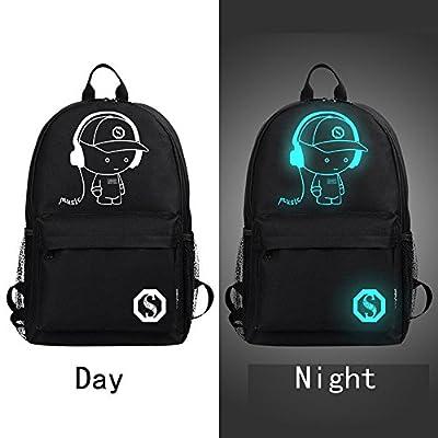 GOODCULLER Unisex Light Preppy Noctilucent Cartoon Backpack School Travel Bag