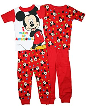 Disney Mickey Mouse Little Boys Toddler 4 Pc Cotton Pajama Set