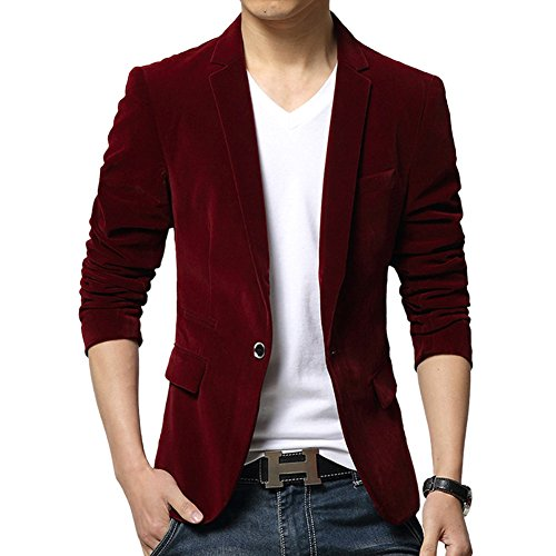Blazer Velvet Vintage (Vividda Men's Solid Corduroy Suit Vintage Smart Formal Slim Fit Velvet Blazer Coat Medium Burgundy)