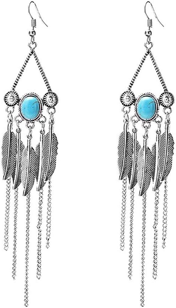 YAZILIND exagerado Bohemia hoja borla colgante pendientes turquesa piedra preciosa dangle mujeres gancho pendiente