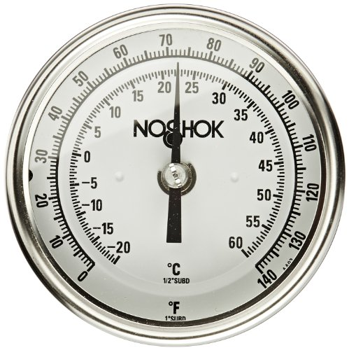 Dial Temperature Range (NOSHOK 300 Series 304 Stainless Steel Instrument Type Dual Scale Bi Metal Thermometer with Back Mount, 2-1/2