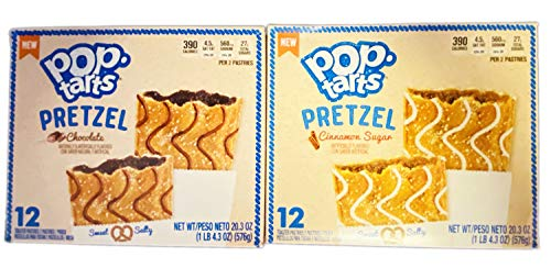 New Pop-Tarts Pretzel Toaster Pastries 20.3 Oz Pack Of 2! 2 Flavors Chocolate and Cinnamon Sugar! Sweet And Salty! Pretzel Flavored Toaster Pastries Breakfast For Kids!