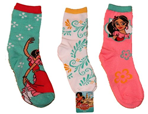 Price comparison product image Disney Elena of Avalor 3pk Girls Crew Socks sz 6-8.5