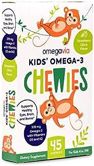 OmegaVia Kids Omega-3 Gummy with Vitamin D3, K2 for Children & Adults. Gluten-Free, Non-GMO, Sugar-Free. N