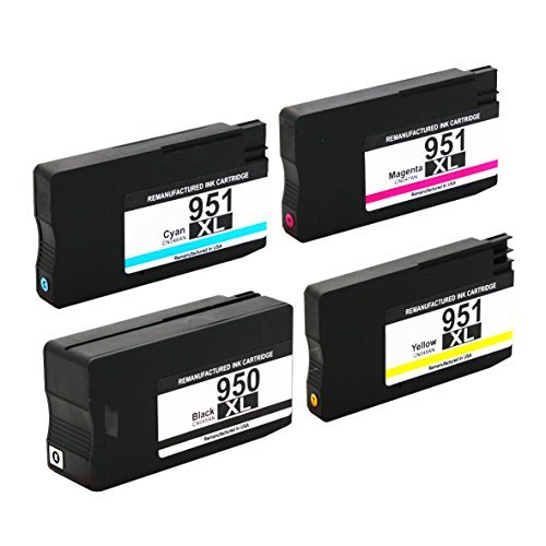 Valuetoner Remanufactured Ink Cartridge Replacement For Hewlett Packard HP 950XL 951XL (1 Black, 1 Cyan, 1 Magenta, 1 Yellow) (4 Pack)