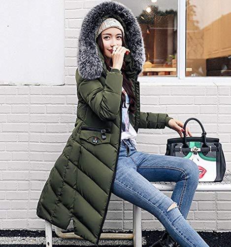 Giacca Donna Con Moda Abbigliamento Parka Solidi Piumini Anteriori Giovane Giaccone Manica Caldo Grün Colori Tasche Cerniera Lunga Cappuccio Invernali fCxwApq