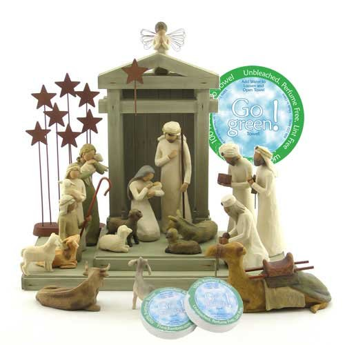 Willow Tree 19 Piece Nativity Set By Susan Lordi (Includes Ox and Goat Peace on Earth) with Go Green! Compressed Bamboo Towels by Willow Tree
