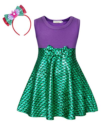 Cotrio Little Mermaid Costume Girls Ariel Princess Dresses Sleeveless Fish Scale Dress with Bowtie Headband Halloween Cosplay Size 12 (7-8 Years, Purple Green, 150)]()