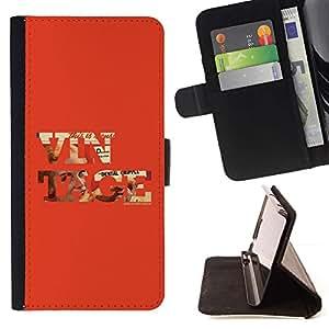 Momo Phone Case / Flip Funda de Cuero Case Cover - Vintage texto fresco Red Old School de Orange - HTC One M9