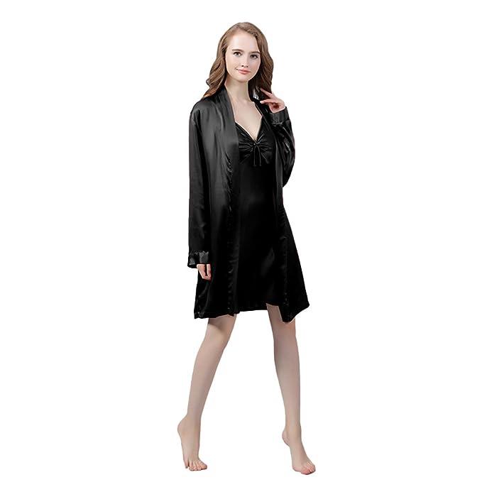 LULUSILK Conjunto de Pijama Mujer Bata Corta con Camisón de Lazo 22 Momme Atractivo, Marfil