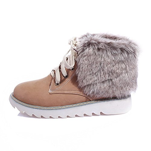 Women's PU Boots Closed Heels AmoonyFashion Low apricot Up Lace Solid Round Toe 1av00d