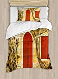 Ambesonne Shutters Duvet Cover Set Twin Size, Doorway with Blinded Door and Window to The Rural Tuscan House Italy Europe, Decorative 2 Piece Bedding Set with 1 Pillow Sham, Beige Yellow Red
