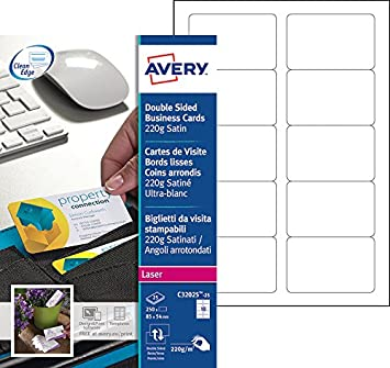 Avery 250 Cartes De Visite Bords Lisses Et Coins Arrondis 220g