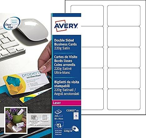Avery 250 Cartes De Visite Bords Lisses Et Coins Arrondis 220g