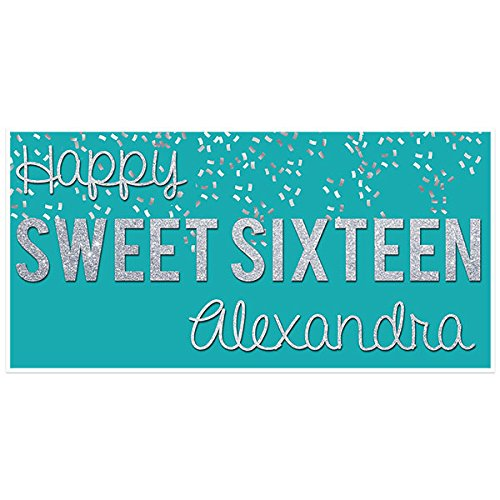 (Sweet Sixteen 16 Teal and Silver Birthday Banner Personalized Party Backdrop)