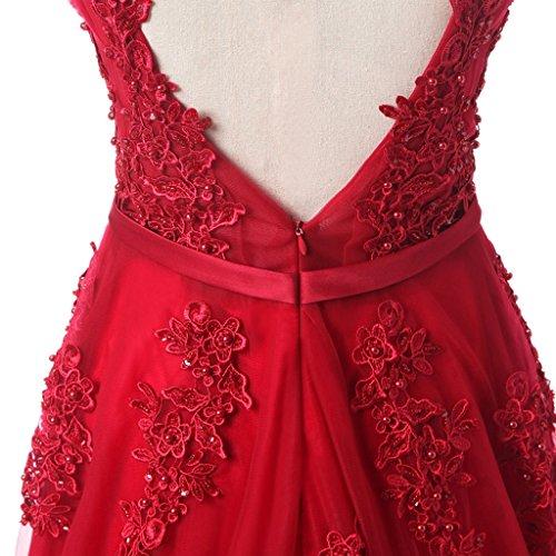 rückenfrei Marineblau Tüll Abendkleider Lang Elegant Partykleider Ballkleider LuckyShe Spitze Promkleider f5zwTnq