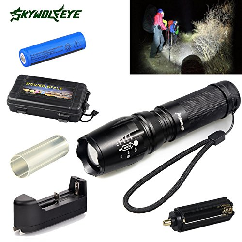 (Tactical LED Rechargeable Flashlight Ultra Bright 5000 Lumens with Zoomable Adjustable Torch Light 5 Modes 18650 Battery Charger Included Black Box)