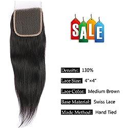 FAVE 16 Inch Free Part Straight 4x4 Lace Hair Closure 8A Malaysian Virgin Human Hair Natural Color