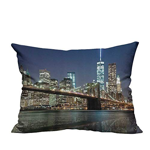 YouXianHome Decorative Throw Pillow Case NYC New York City Skyline Brooklyn Bridge Night Panoramic Photography Ideal Decoration(Double-Sided Printing) 13.5x19 -