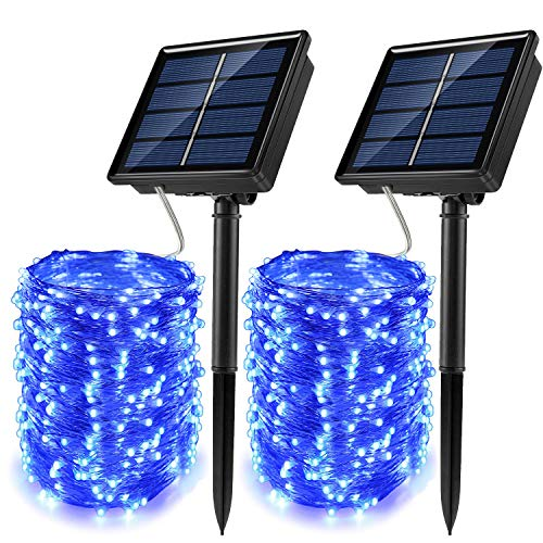 100 Blue Solar Powered Led Outdoor String Fairy Lights in US - 3