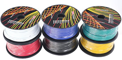 GS Power 12 Gauge Ga, 6 Rolls of 100 Feet (600 ft Total) Primary Wire. CCA Cable for Car Audio Stereo Amplifier Remote Turn Automotive Trailer Signal Wiring. Color: Black Red Blue Yellow White Green by GS Power